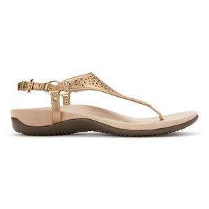 Vionic The Kirra Thong Sandals. Gold. Size 7
